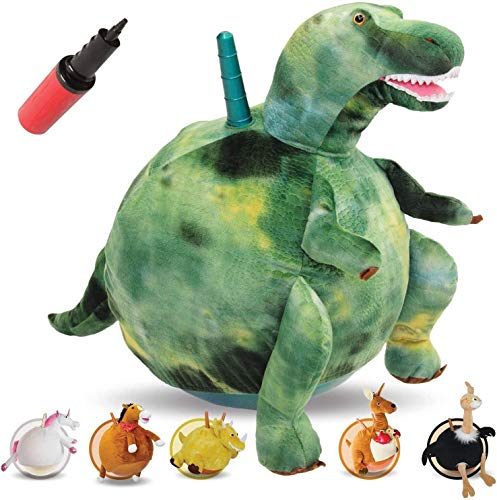 WALIKI PBl-Dino T-REX Hopper Ball   Green Hippity Hop   Jumping Hopping Ball   Sit & Bounce (Large: Ages 6-9, Dino)