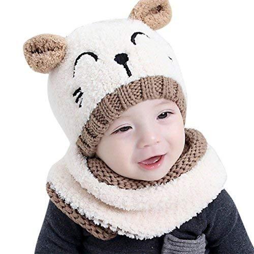 Kfnire bebé Sombrero y Bufandas, otoño Invierno niños niñas Lana Punto Gorras y Bufanda Conjunto (Beige)