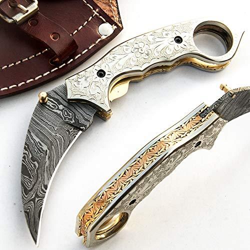 SJRN 9517 Couteau pliant de poche en acier de damas fait à la main fait sur commande avec le fourreau en cuir chef cuisine maison pêche camping billette et autres couteaux