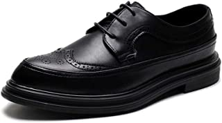 PengCheng Pang Brogue Oxford for Men Retro Dress Shoes Lace up Microfiber Leather Flat Pointed Toe Rubber Sole Platform Perforated Burnished Style (Color : Black, Size : 8 UK)