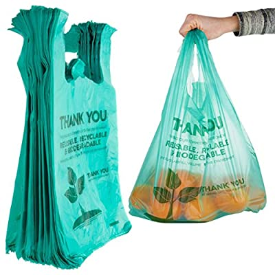 Stock Your Home Eco Grocery Bags (100 Count) Biodegradable Plastic Grocery Bags - Reusable Supermarket Thank You Shopping Bags, Recyclable Plastic T Shirt Bags, Small Trash Can Bags