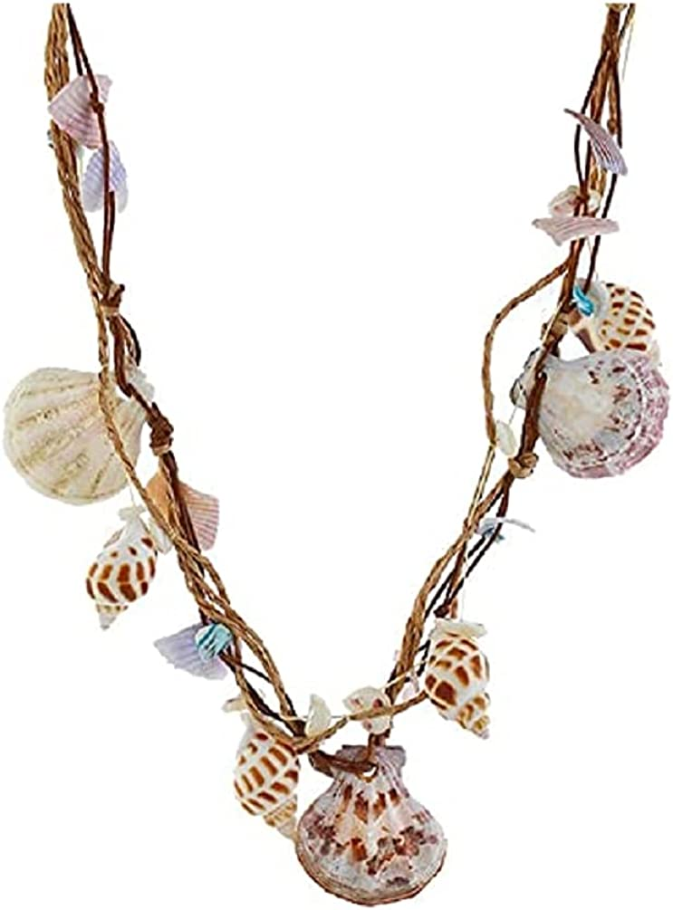 Boho Braided Rattan Shell Pendant Necklace for Women Girls Handmade Wovening Hanging Multilayer Long Chain Friendship Waterproof Jewelry