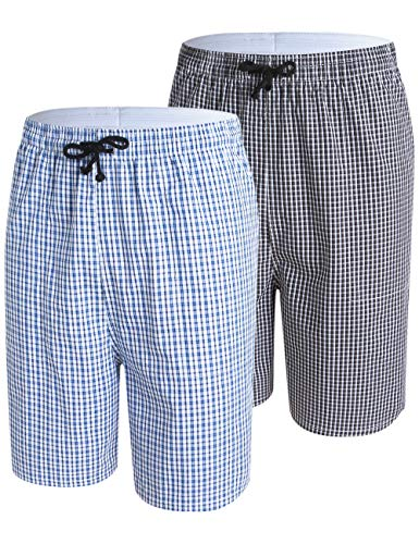 MoFiz Pyjamahose Herren Kurz Schlafanzughose Karo Schlafhose Baumwolle Loungewear 2 Pack-03 M