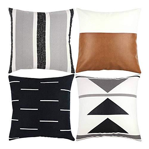 Fhdpeebu Funda de cojín decorativa solo para sofá, sofá o cama, juego de 4 x 18 pulgadas, diseño moderno de felpa corta, color negro, juego de piel sintética geométrico (18 x 18 pulgadas)