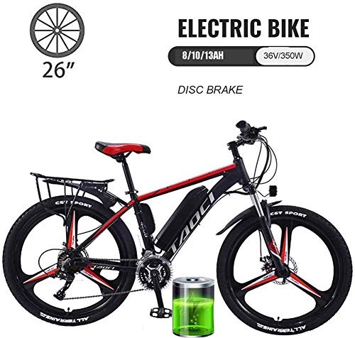 """YMhome 26\"""" Bike Doppio Freno A Disco in Acciaio al Carbonio Completa Sospensione Bicicletta Elettrica Città Ebike Montagna della Bici della Bicicletta di velocità degli Uomini di 21,Rosso,8AH"""