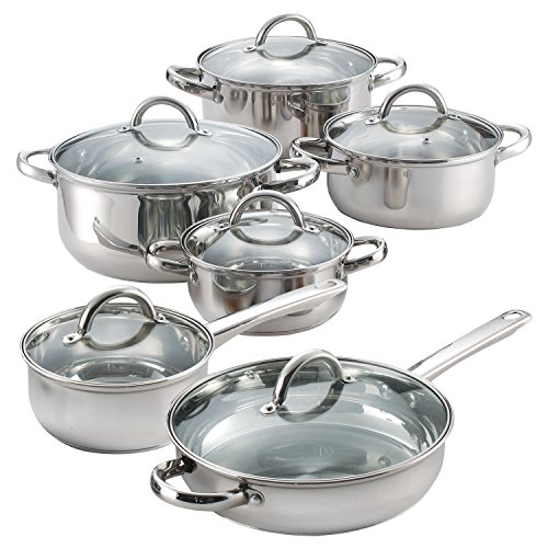 12 Piece Stainless Steel Cookware Set- Bottoms are flat and is rated for 3.0 mm thickness-Glass lids have a temperature max of 350 F-Cookware set is oven safe to 500 F