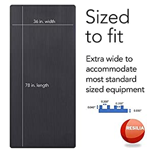 Resilia Heavy-Duty Protective Hard Floor Mat-for Exercise Equipment, Black, Ribbed (36 Inches W x 78 Inches L)