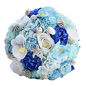 KUPARK Handmade Romantic Rose Dahlia Hydrangea Orchid Artificial Flowers Blossom Decor Starfish Conch Shell Bridal Bridesmaid Bouquet Home Wedding Decoration