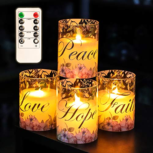 Inspirational Christian Flameless Candles, Battery Moving Flame Glass Pillar Wax LED Night Light with Remote, Faith Hope Love Peace, Spiritual Gifts for Women, Ideas for Home Décor - Set of 4