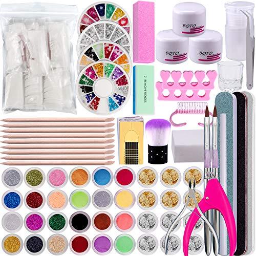 BQTQ Acrylpulver für Nägel Weiss Pink Klar, Acryl Nagelset Acrylpulver Glitzerpuder Falsche Nägel Nagelfeilen Strasssteine Acryl Nail Art Kit für Nägel Dekoration