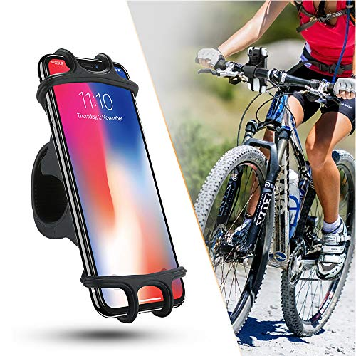 ZOESON Handyhalterung Fahrrad, Silikon Verstellbarer Fahrradhalterung für Smartphones mit der Bildschirmgröße von 4.5-6.0 Zoll, Einfach Montage, Ideal für Mountainbike, Rennrad, Motorrad (black1)
