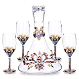 European Tea Set Enamel Chinese Style Carved Red Wine Goblet Decanter Wine Glass Cup Teapot Ceramic Bone China Tray Afternoon Tea Party