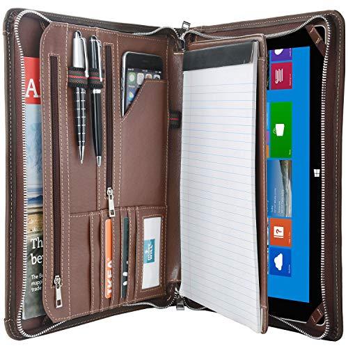 Vintage Crazy-Horse Portfolio Organizer Padfolio Compact Case for Surface Pro 7 / Surface Pro 6 / Pro 5 / Pro 4, Padfolio Case Business Zip Organizer Dokumentenmappe mit A4-Größe Notizblockhalter