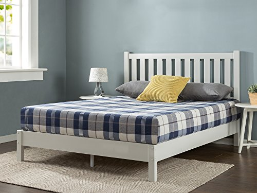 Zinus Wen Deluxe Wood Platform Bed with Slatted Headboard / No Box Spring Needed / Wood Slat Support, Queen
