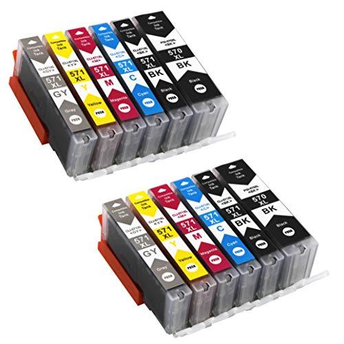 Bergsan 570XL 571XL Cartucce d'inchiostro compatibile con Canon PGI 570 XL CLI 571 XL Sostituzione con Canon Pixma MG5700 MG5750 5751 5752 5753 6800 6850 6851 6852 TS5000 5050 5051 5055 6050 (12-Set)