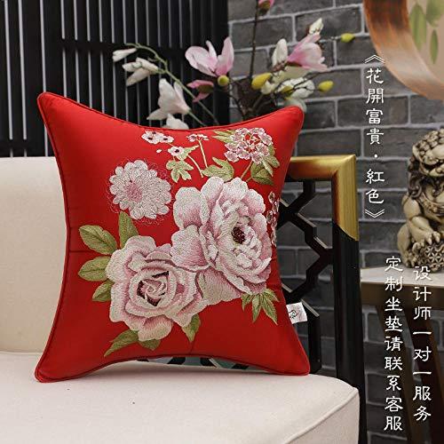 Cojín de sofá bordado chino clásico, funda de almohada grande de estilo chino para el hogar-50x50 (funda de cojín)_La flor florece ricamente'rojo grande'