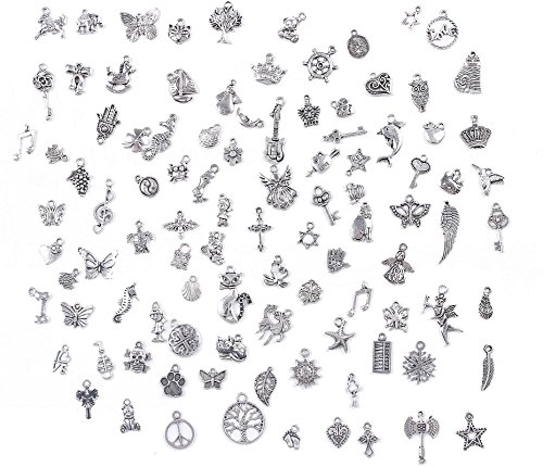 BIHRTC Pack of 100 Antique Silver Mixed Charms Pendants DIY Handmade Accessories for Crafting,Bracelet Necklace Jewelry Findings Jewelry Making Accessory