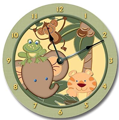 BABY JUNGLE animals safari wall art clock nursery large 10 1/2""