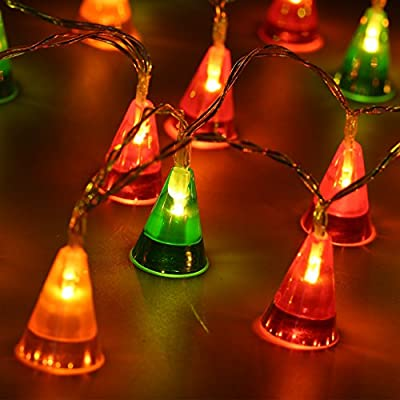 Finether 7.22 ft Battery Powered Cone String Christmas Lights