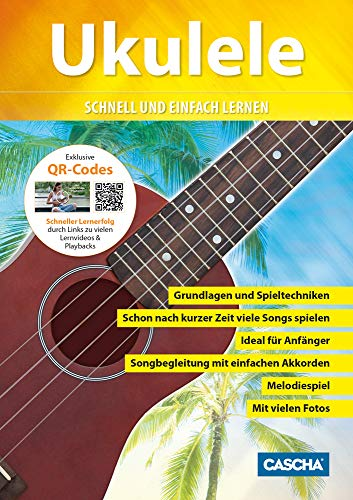 CASCHA HH 2036 DE Premium Mahagoni Konzert Ukulele Bundle mit Ukulelenschule, Stimmgerät, gepolsterter Tasche, 3 Picks und Aquila Qualitäts-Saiten - 6