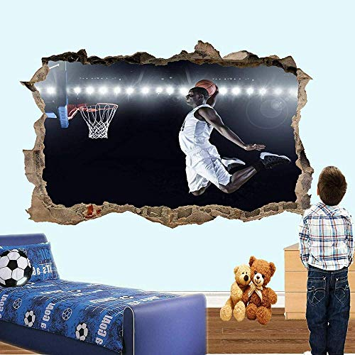 Pegatinas de pared-3D-Baloncesto Slam Dunk Wall Sticker Transfer Art Mural Decal Poster Decoración-50x70cm