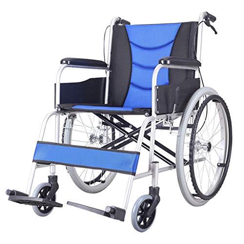 Doblar sillas de Ruedas Ligeras, sillas de Ruedas con accionamiento del Escritorio del tirón Arms Volver, la Rejilla pivotante reposapiés, Asiento 18 Pulgadas (Color : Blue)