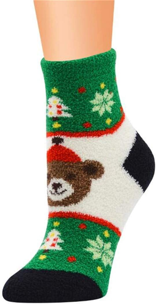 Underleaf Plush Slipper Socks Women - Colorful Warm Fuzzy Crew Socks Cozy Soft for Winter Indoor