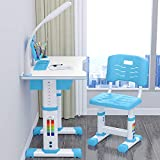 StarAndDaisy K80 Adjustable Height, Multi-Functional Kids Study Table with Book Holder, Drawer, Extra Large Desktop with an Option of LED Light (Basic Version Blue (with LED))