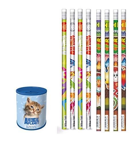 Animal Planet - 9 Teiliges Set - I - 1 Anspitzer aus Metal KAtze+ 8 Bleistifte mit Radiergummi Safari und - tolle Geschenkidee für Kinder - Katze