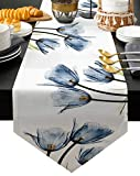 Edwiinsa Cotton and Linen Triangle Table Runners 108 Inches Long, Tulip Floral Dresser Scarves Table Decoration for Wedding Party/Graduation Ceremony/Banquet (13x108 inch) Blue Flowers