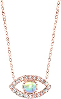 Jude Jewelers Rose Gold Plated Cubic Zircon Created Moon Stone Evil Eye of Gold Necklace