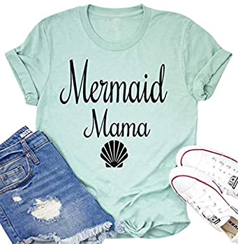 Mermaid Mama T-Shirt Women Funny Shell Graphic Shirt Short Sleeve Loose Mom Gift Mommy Tops Mint Green