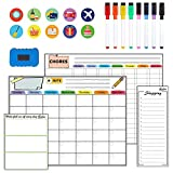 Magnetic Dry Erase Calendar Kit, 4 Pack Feela Magnetic Whiteboard Calendar for Refrigerator Includes 2 Large 17''x13'' Monthly Chalkboard 1 Grocery List 1 DIY Note for Smart Planners Home Office
