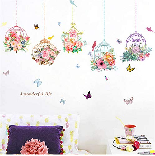 Muursticker Kleurrijke Tuin 3D Levendige Planten Bloem Woonkamer Bloem Vlinder Bonsai Muurstickers DIY Mural Art Posters 90 * 30cm