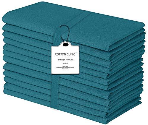 Baumwolle-Klinik 12er-Set Stoffservietten 44x44 cm, Servietten Hochzeit, Weich Gemütlich Maschinenwaschbar 100% Baumwolle Servietten Blaugrün