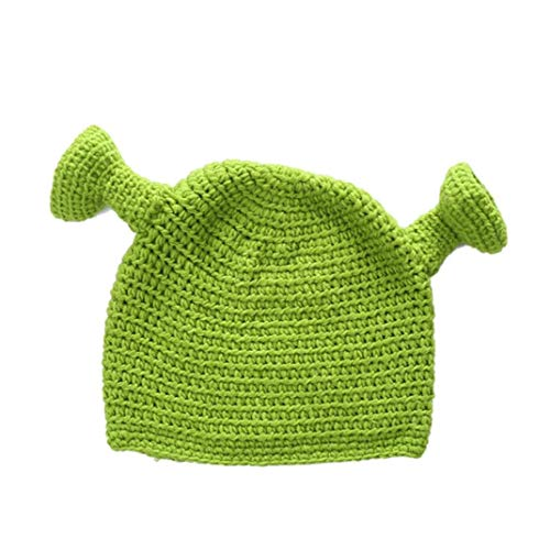 Shrek Cappelli con Le Orecchie Verde per Adulti Cosplay Prop Halloween Cosplay Winter Warm Beanie Regali