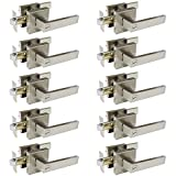 Probrico 10 Pack Satin Nickel Door Locks for Bedroom and Bathroom,Privacy Function Contractor Pack,Square Lockset Leverset Modern Style,Interior Door Handles Heavy Duty