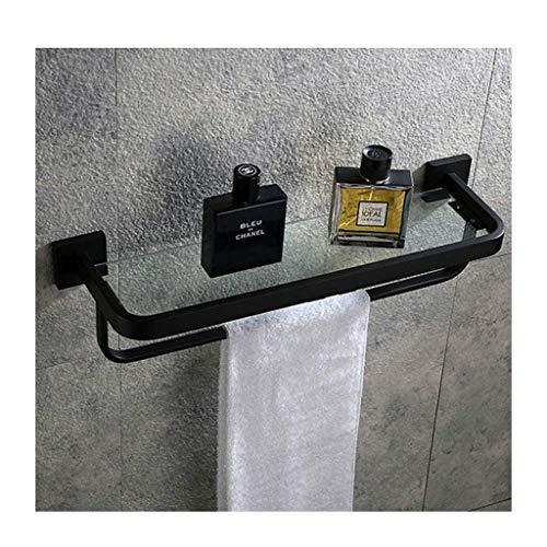 Riyyow Estante de Vidrio Estante de Vidrio con Estante de Toalla Estante de baño Estante de Vidrio Estante de Pared de Almacenamiento de taladrado (Size : 50CM)