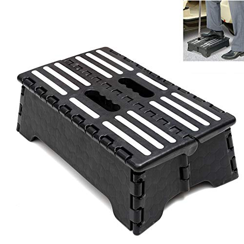 """Ihomepark Folding Step Stool for Adult and Elderly, 5"""" Lightweight Portable Plastic Step Stool, Half Step Height Riser for Home, Kitchen, Bathroom, Toilet, Caravan and Travel Use, Max Load 220 lbs"""