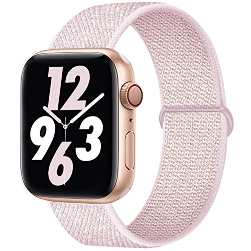 Qunbor Cinturino Compatibile con Apple Watch 38mm 40mm 42mm 44mm per iWatch Series 6 5 4 SE 3 2 1 Edition, Sport Nylon Intrecciato Loop Tessuto Regolabile Ricambio Flessibile Stoffa, Rosa Perla