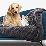 Nobleza Waterproof Dog Blanket, Super Soft Fluffy Reversible Sherpa Puppy Blanket Furniture Protector Sofa Couch Bed, Pee Urine Proof Cat Blanket for Small Medium Large Dogs Cats, Grey