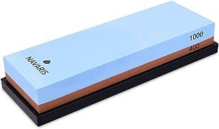 Navaris piedra para afilar cuchillos con doble cara - Piedra afiladora de cuchillo 2en1 con grano 400/1000 - Con soporte de silicona antideslizante