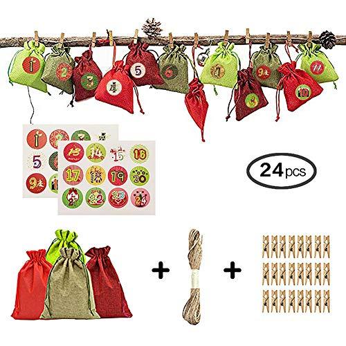 Ardentity - Calendario de Adviento 24 DIY Calendario de Adviento, 24 Bolsillos de tirado con Pegatinas, 24 Pinzas de Madera, Cuerda de Lino de 10 m, Caja de Hadas para Caramelos de Navidad