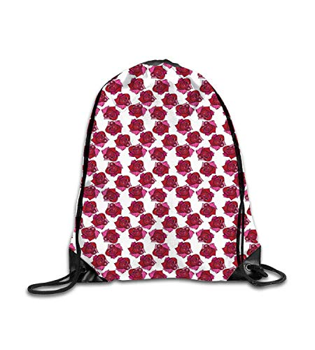 huatongxin Customized Backpack Colorful Sketchy HDrawn Abstract Design Floral Pattern Raspberry Pink Dark Magenta White Fitness Beam Backpack, Sports Backpack, School Bag