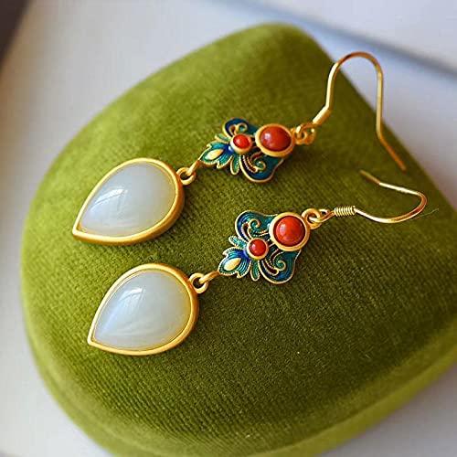 YUXIwang Bracelet Natürliche Hetian White Jade Wasser Tropfen Ohrringe Chinesischer Stil Antique Cloisonne Emaille Light Luxus Ethnische Frauen Marke Schmuck (Gem Color : White)