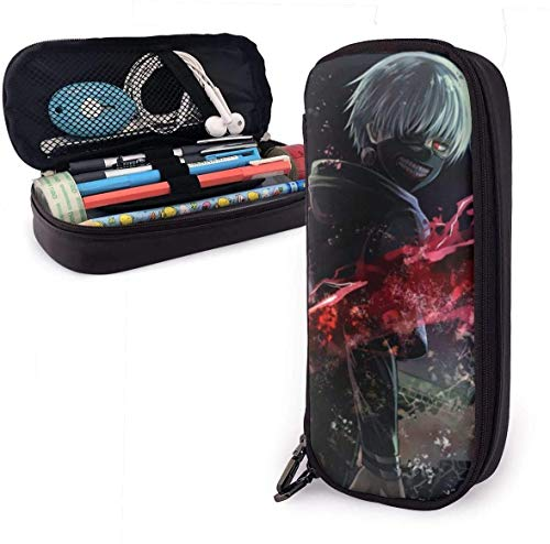 zhengchunleiX Tokyo Ghoul Leather Mäppchen Pen Bag for Girls Boys Kids Adult Pencil Pouch Stationery Storage Bags for School Office
