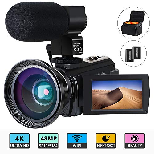 Videocámara 4K ACTITOP Videocámara 48MP Full HD WiFi IR Night Vision 16X Zoom...