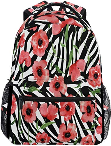 Zerba Skin Poppy School Mochila Impermeable Hombro Bookbag, Red Flower Laptop Bag Casual Day Pack Bolsas Deportivas de Viaje al Aire Libre