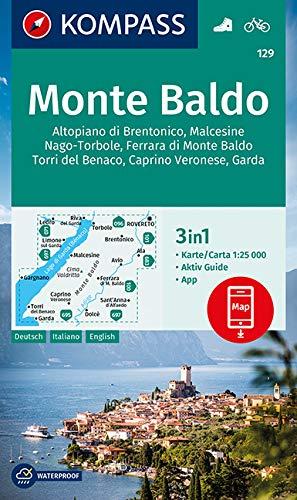 KOMPASS Wanderkarte Monte Baldo 1:25 000: 3in1 Wanderkarte 1:25000 mit Aktiv Guide inklusive Karte zur offline Verwendung in der KOMPASS-App. Fahrradfahren.: 129