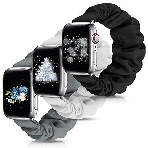 OWUSHEE Scrunchie Watch Band Compatible with Apple Watch Band 38mm 40mm 42mm 44mm Scrunchy Elastic Band for iWatch Series 6 SE 5 4 3 2 1 (Black+Grey+Ivory-38mm/40mm M)